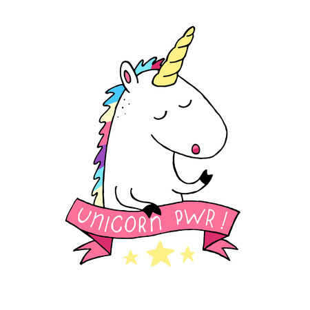 Unicorn vector icon isolated on white. Head horse sticker patch badge. Unicorn power pwr text ribbon. Cute cool modern trendy magic cartoon style. Rainbow hair. Dream symbol. For t shirt textile, card