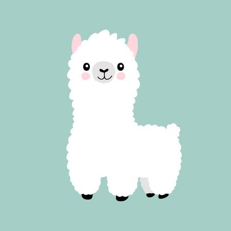 Llama cartoon cute alpaca. Lama animal vector isolated illustration. Cute funny hand drawn art. Design for card, sticker , fabric textile, t shirt. Children, kid modern trendy style Standard-Bild