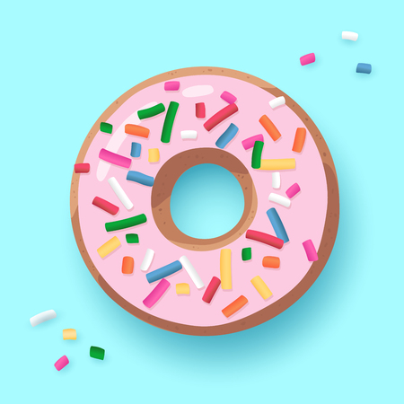 Donut with pink glaze, doughnut with sprinkles isolated on blue background. Cute Strawberry cake. Vector icon, illustration. Modern trendy design for party banner, summer, birthday poster. Top view