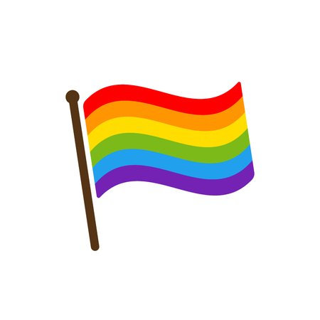 Pride flag icon. Color rainbow vector wave stripes, LGBT Lesbian gay bisexual transgender concept, Symbol Stockfoto