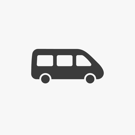 Bus passenger van minivan, micro minibus vector icon isolated on white. Transportation delivery automobile concept