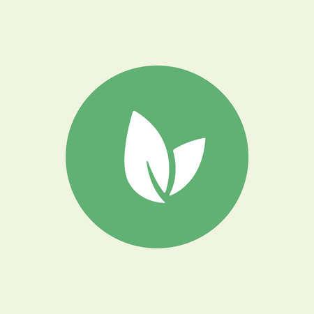 Leaf vector , health icon, vegan vegetarian, wellnes, spa concept. Bio eco symbol isolated on green, flat design