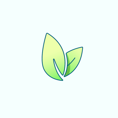 Vector de hoja, icono de salud, vegetariano vegano, bienestar, concepto de spa. Símbolo de bio eco aislado en verde, diseño plano. Ilustración de vector