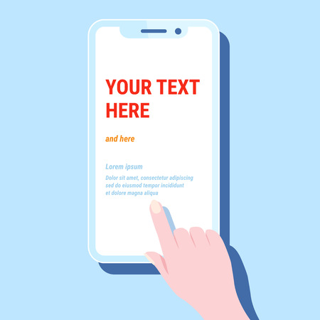 Hand hold phone. Vector smartphone cellphone, finger touch screen, stylized template design mobile app, modern blue trendy flat style Иллюстрация