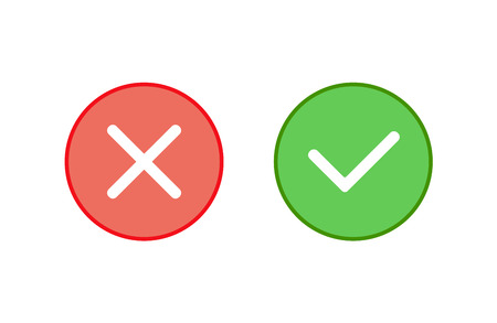 Tick cross mark vector icon, check correct sign, yes no concept, simple flat design for web, website, mobile app.