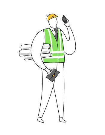 Foreman builder architect engineer character vector illustration isolated on white. Line outline Flat design style. 向量圖像