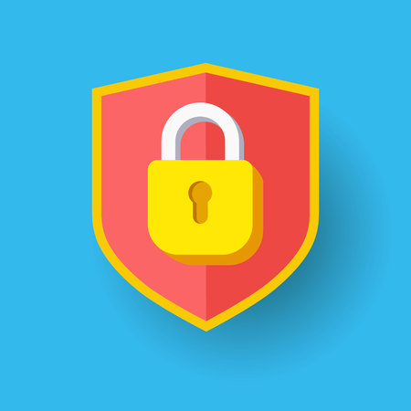 Shield with lock icon. Protection safety password security GDPR concept. Vector illustration. Firewall access privacy sign. Flat design for web.