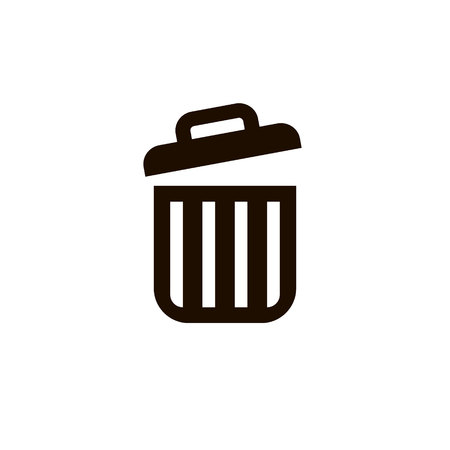 Delete icon, vector trash can garbage bin sign isolated on white, flat design for web, website. Eco bio concept