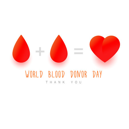 World blood donor day concept. Red Drop, Heart, text. Donation concept on white backrond.