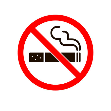 No smoking sign. Smoke Vector icon, Stop cigarette concept, illustration isolated on white.