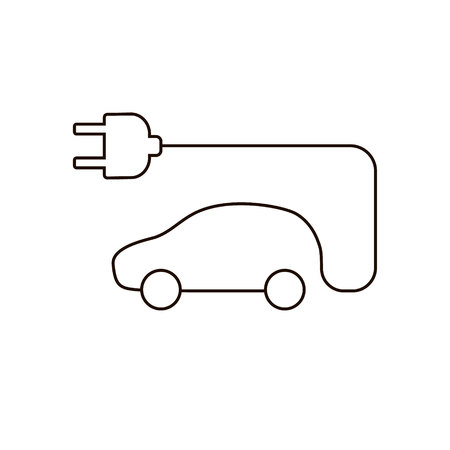 Electric car vector icon, vehicle thin sign, illustration isolated on white, line outline flat design for web, website