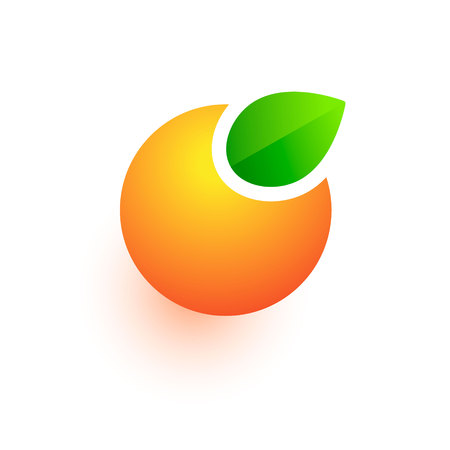 Orange vector logo, abstract fruit icon, Drink juice sign isolated on white Banco de Imagens