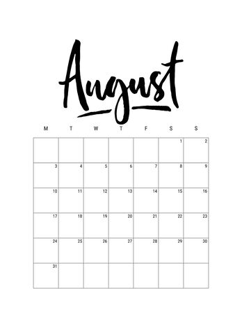 2020 August month. Wall calendar desk planner, weeks start on Monday. Hand drawn lettering font. Letter print size. Vector Black white monochrome template, minimalist scandinavian design organizer