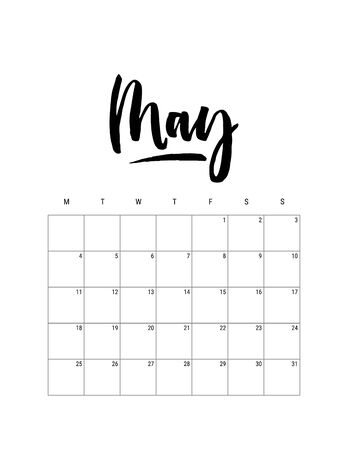 2020 May month. Wall calendar desk planner, weeks start on Monday. Hand drawn lettering font. Letter print size. Vector Black white monochrome template, minimalist scandinavian design organizer