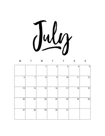 2020 July month. Wall calendar desk planner, weeks start on Monday. Hand drawn lettering font. Letter print size. Vector Black white monochrome template, minimalist scandinavian design organizer
