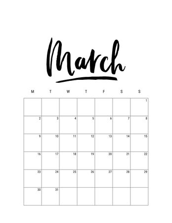 2020 March month. Wall calendar desk planner, weeks start on Monday. Hand drawn lettering font. Letter print size. Vector Black white monochrome template, minimalist scandinavian design organizer