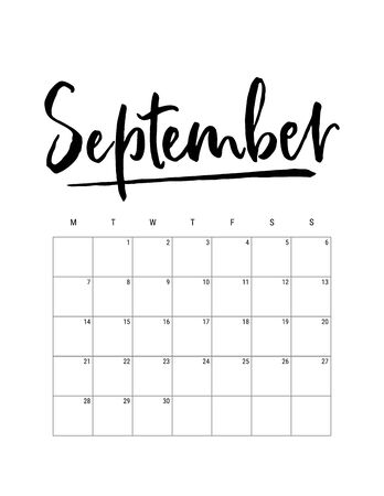 2020 September month. Wall calendar desk planner, weeks start on Monday. Hand drawn lettering font. Letter print size. Vector Black white monochrome template, minimalist scandinavian design organizer Ilustração