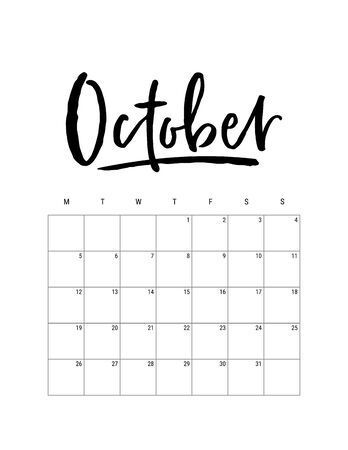 2020 October month. Wall calendar desk planner, weeks start on Monday. Hand drawn lettering font. Letter print size. Vector Black white monochrome template, minimalist scandinavian design organizer