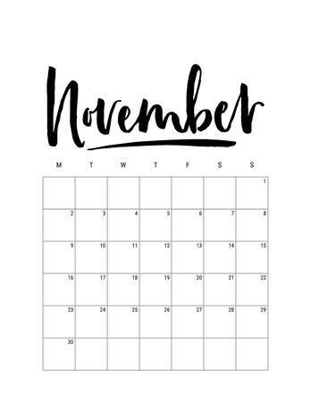 2020 November month. Wall calendar desk planner, weeks start on Monday. Hand drawn lettering font. Letter print size. Vector Black white monochrome template, minimalist scandinavian design organizer