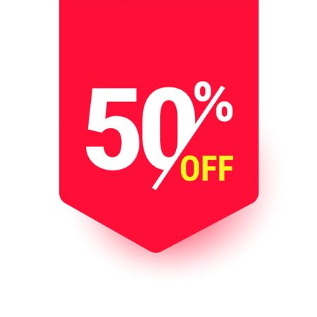 50% off. Discount offer price tag, label, promo discount symbol, best sale offer, promo marketing badge, vector illustration. Stock Illustratie