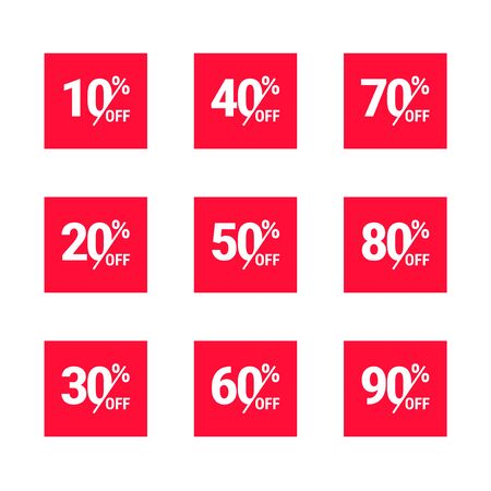 50 percent off set. Discount offer price tag, label, promo discount symbol, best sale offer, promo marketing badge collection, vector illustration nisolated on white