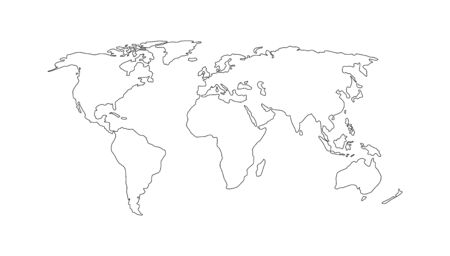World map. Hand drawn simple stylized continents silhouette in minimal line outline thin shape. Isolated vector illustration on white background. Design elements, template for laser cutting. Illustration