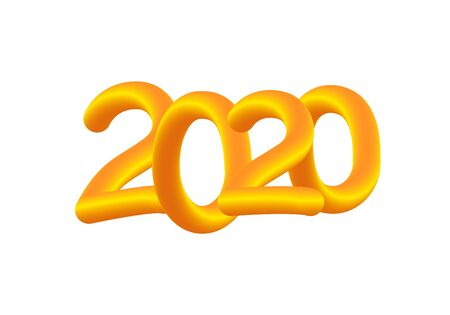 2020 Year. Liquid fluid numbers. Golden Holiday vector illustration. Happy New Year sign. Realistic 3d element.