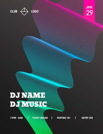 DJ Music Party Poster set, abstract vector banner collection. Colored Wave on black background, design template for invitation, flyer, web