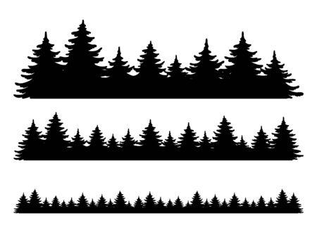 フォレスト ベクター シェイプ セット。松の木の風景コレクション、パノラマ。白い背景に分離された手描きの様式化された黒のイラスト。デザインクリスマスバナー、ポスターのための要素