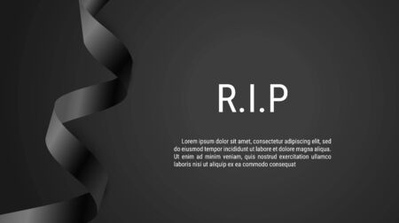Mourning symbol with Black Respect ribbon on dark background. RIP Funeral card. Vector elegance Illustration.