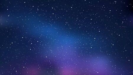 Cielo estrellado de noche, espacio azul brillante. Fondo abstracto con estrellas, cosmos. Ilustración de vector de banner, folleto, diseño web.