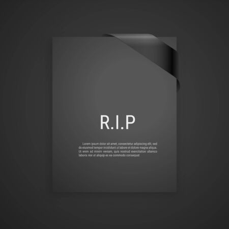 Mourning frame, funeral gray dark card, Diagonal Black Ribbon. Vector modern design element Vector Illustration