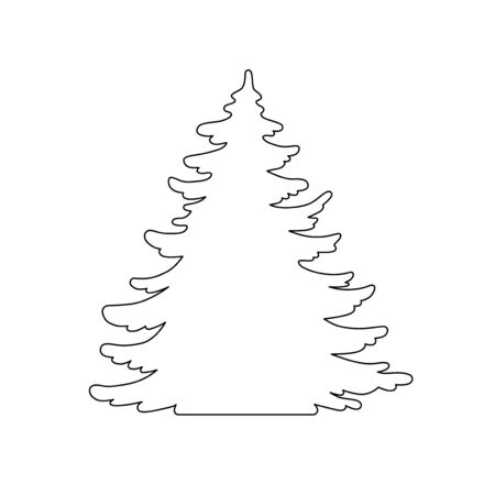 Pine tree vector silhouette. Hand drawn stylized monochrome illustration isolated on white background. Element design for christmas card, banner.