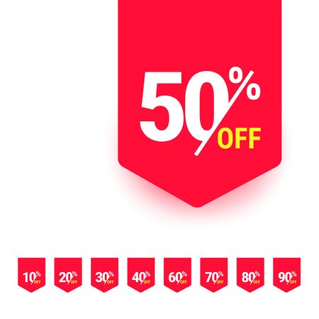 50 percent off. Discount offer price tag, label, promo discount symbol, best sale offer, promo marketing badge, vector illustration.