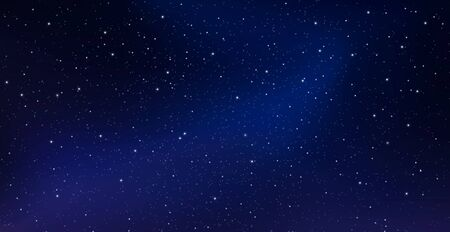 Night starry sky, blue shining space. Abstract dark background with stars, cosmos. Vector illustration for banner, brochure, web site design