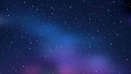 Night starry sky, blue shining space. Abstract background with stars, cosmos. Vector illustration for banner, brochure, web design.