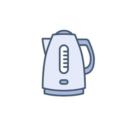 Electric kettle vector icon isolated on white, appliance line outline flat design sign for web website, mobile app, online shop.