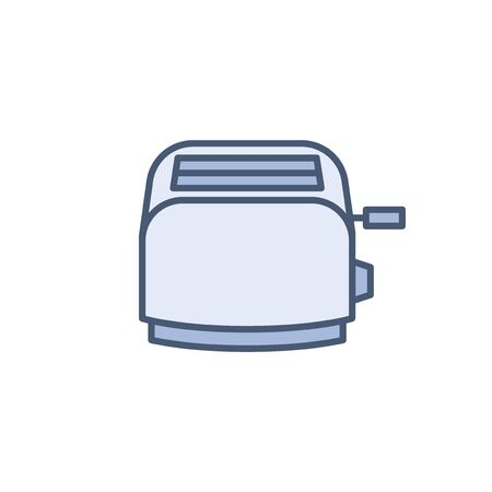 Toaster vector icon isolated on white, domestic kotchen appliance line outline thin flat design sign for web website, mobile app, online shop