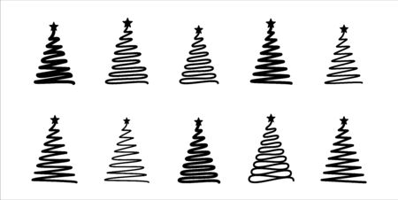 Christmas tree. Line draw scribbled stylized set. Decorative vector mobochrome elements collection, holiday black sign on white Banque d'images - 138180979