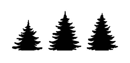 Pine tree vector shape set. Hand drawn stylized black monochrome illustration collection isolated on white background. Forest Element design for christmas card, banner, laser cut. Banque d'images - 138196762