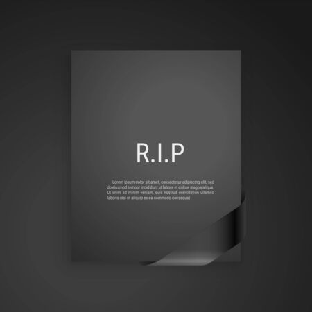 Mourning frame, funeral gray dark card, Diagonal Black Ribbon. Vector modern design element