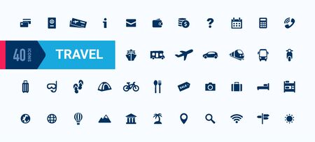 Travel vector icon set. Tour sign collection. Simple flat design for web mobile app UI. Modern shape elements isolated on white 向量圖像