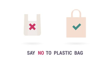 Plastic bag vector icon. Say no to plastic bag. Zero waste eco concept. Recycle Eco-friendly sign set isolated on white 向量圖像