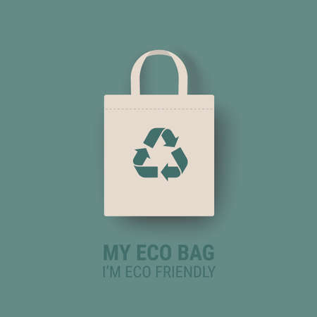 Eco bag vector icon Cloth Bag Tote sign Zero waste Eco-friendly recycle illustration isolated on green background
