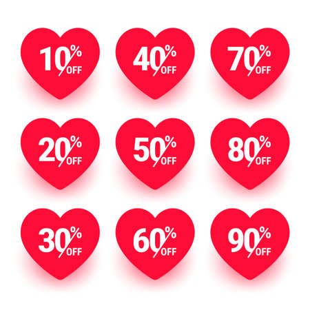 Sale label, Heart icon set. Love sticker collection. From 10, 20, 30, 40, 50, 60, 70, 80 to 90 percents off. Valentines day sign