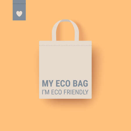 Eco bag vector icon. Cloth Bag Tote sign. Zero waste Eco-friendly concept illustration isolated on yellow background