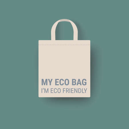 Eco bag vector icon Cloth Bag Tote sign Zero waste Eco-friendly recycle concept illustration isolated on green