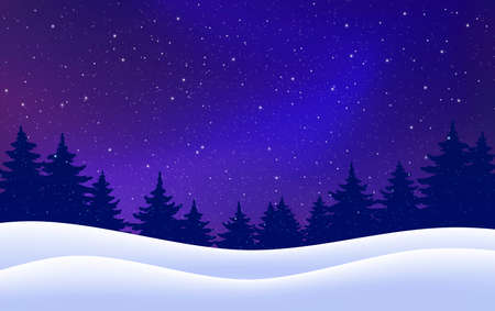 Christmas card. Night with pine trees, snow, dark blue sky. Vector winter starry background. Vector illustration. Holiday scene design, decor for banner, web, poster. Vector illustration