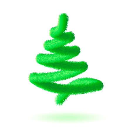 Christmas tree, abstract vector line spiral shape. Element design for banner, poster, web, mobile app. Realistic 3d style, Xmas sign, illustration isolated on white