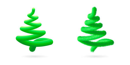 Christmas tree set, abstract vector line spiral shape. Colored bright green Element design for banner, poster, web, mobile app. Realistic 3d style, liquid flow line. illustration isolated on white Imagens